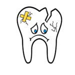 Animation of a sad, bandaged broken tooth